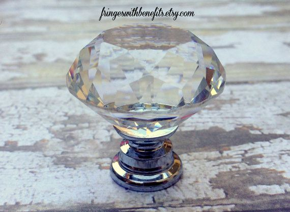 CRYSTAL KNOB - Glass Drawer Pull, Diamond Dresser Pull, Vintage Cabinet Hardware, Antique Knob, Princess Drawer Pull, Shabby Chic