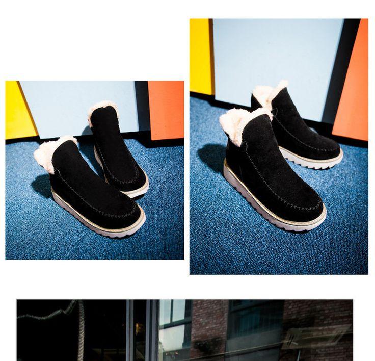 3MMA 2016 Plataforma Caliente de la Felpa Botas de Nieve Del Tobillo Plana Invierno de Las Mujeres zapatos antideslizantes de Gran Tamaño Damas De Deslizamiento En Caliente Botas de Ante Negro en Botas de nieve de Zapatos en AliExpress.com | Alibaba Group