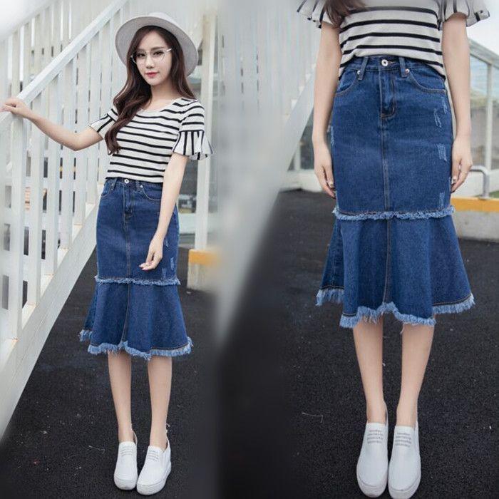 Lato 2017 moda wysoka talia kobiety długa spódnica denim dorywczo syrenka plus rozmiar maxi spódnice niebieski kolor vintage jeans aw370(China (Mainland))