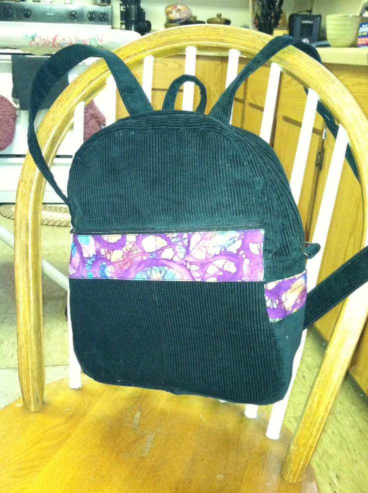 Back Pack purse (Inside lined with tie dye fabric too.) Cordoroy and Purple Tie Dye- perfect for my happy customer! #CreationCorner
