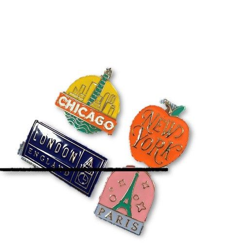 Happy Jackets Enameled Pin set - Travel