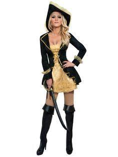 Sexy Piratin Damenkostüm schwarz-gold aus unserer Kategorie Karnevalskostüme/Piratenkostüme! Dieser heißen Freibeuterin würde man doch gerne an den Haken ... #Fasching #Verkleidung