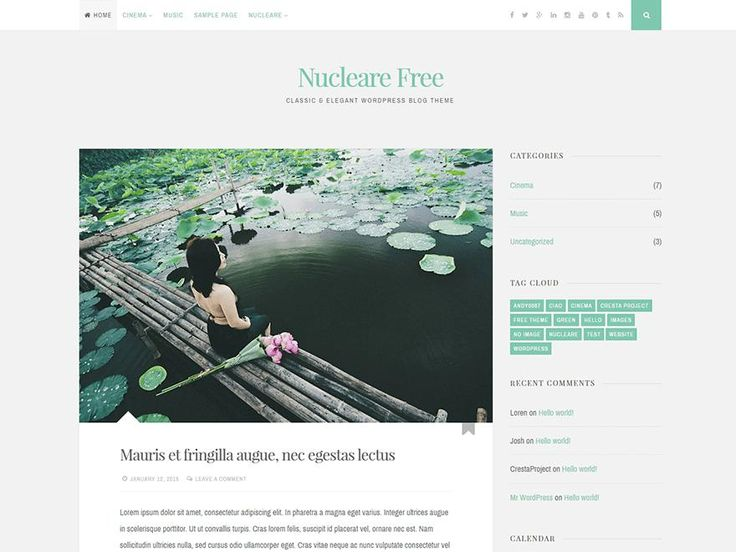 Classic and Elegant WordPress Theme with two columns, unlimited colors and theme options by CrestaProject.com. http://jabirah.com/m/nucleare-2-column-responsive-wp-theme-for-personal-blog.html