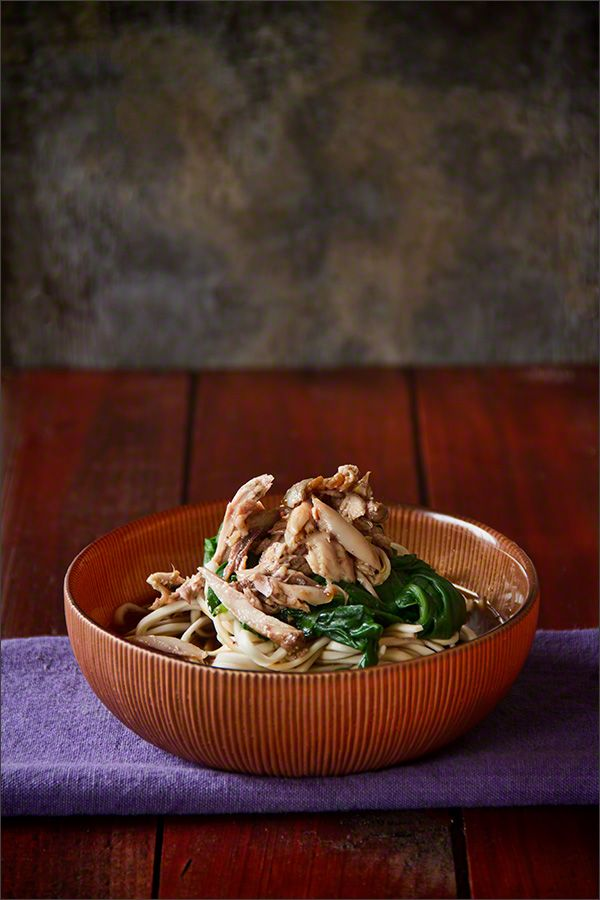 Poached Quail with Noodles and Spinach - Simple but tasty bistro food – that's the style of food I most enjoy both eating and cooking!