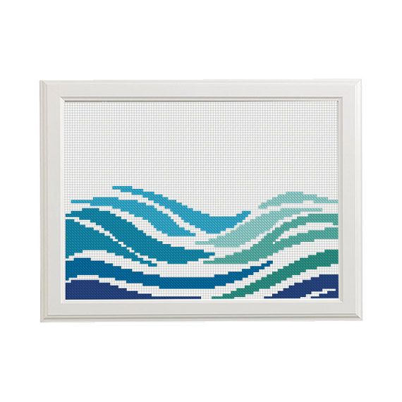 blue and green Modern geometric cross stitch pattern Sea Nautical embroidery cross stitch