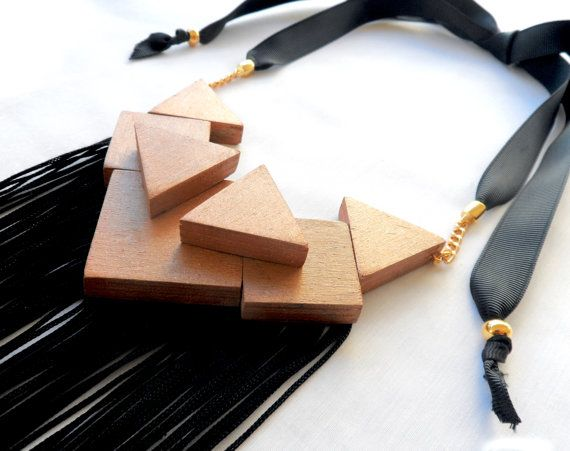 High Fashion Statement necklace with wood and by MCKbyMarieKC, €42.36