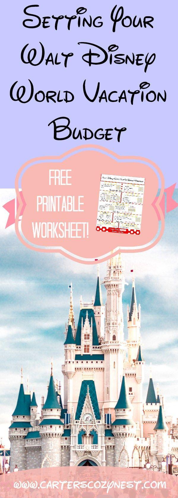 Walt Disney World Vacation Budget Worksheet