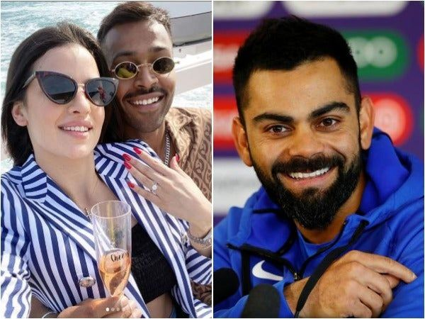 What A Pleasant Surprise Kohli Reacts On Hardik Pandya Natasa Stankovic Engagement In 2020 Newly Engaged Couple Engagement Engagement Couple
