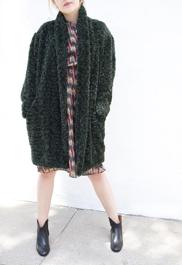 Isabel Marant fall 2016 | Adams Coat in Dark Green and Harold Dress in Orange Green