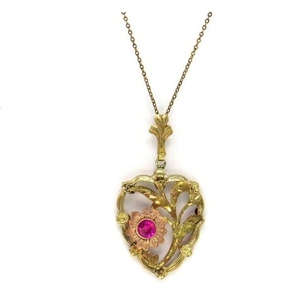 Retro Heart Pendant Necklace by Esemco ($180) ❤ liked on Polyvore featuring jewelry, necklaces, heart necklaces, yellow necklace, retro necklace, heart-shaped jewelry and heart shaped necklace
