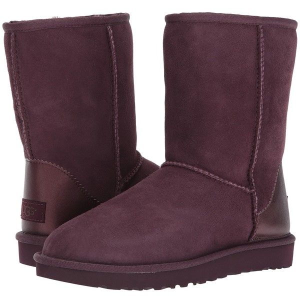UGG Classic Short II Metallic (Port) Women's Boots ($160) ❤ liked on Polyvore featuring shoes, boots, ankle booties, ankle boots, short booties, metallic ankle boots, short ankle boots, fur booties and fur boots