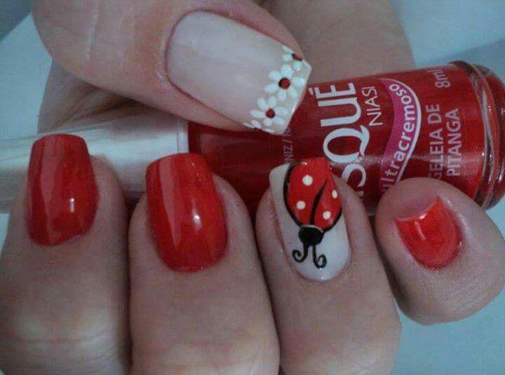 Ladybug nail art for short nails : Best ideas about ladybug nails on kid nail