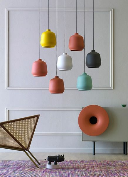 Kiki lamps by Miniforms design | Pendant ceramic lamp from pastels and velvety colours. Its shape is the classic bell-shaped and is beautiful both single and in groups, perhaps at irregular heights. | Available on our online store http://www.malfattistore.it/en/product/kiki/ | #malfattistore #lamp #miniforms #italiandesign #ceramic #pendantlamps #interiordesign #homedecor #homestyle