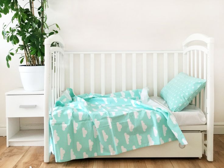 Baby Bedding - Nursery Bedding Set - Mint Clouds Bedding - Baby Bedding Crib - Unique Bed Clothing - Handmade Bedding Set - Mint And White by KarambaKids on Etsy