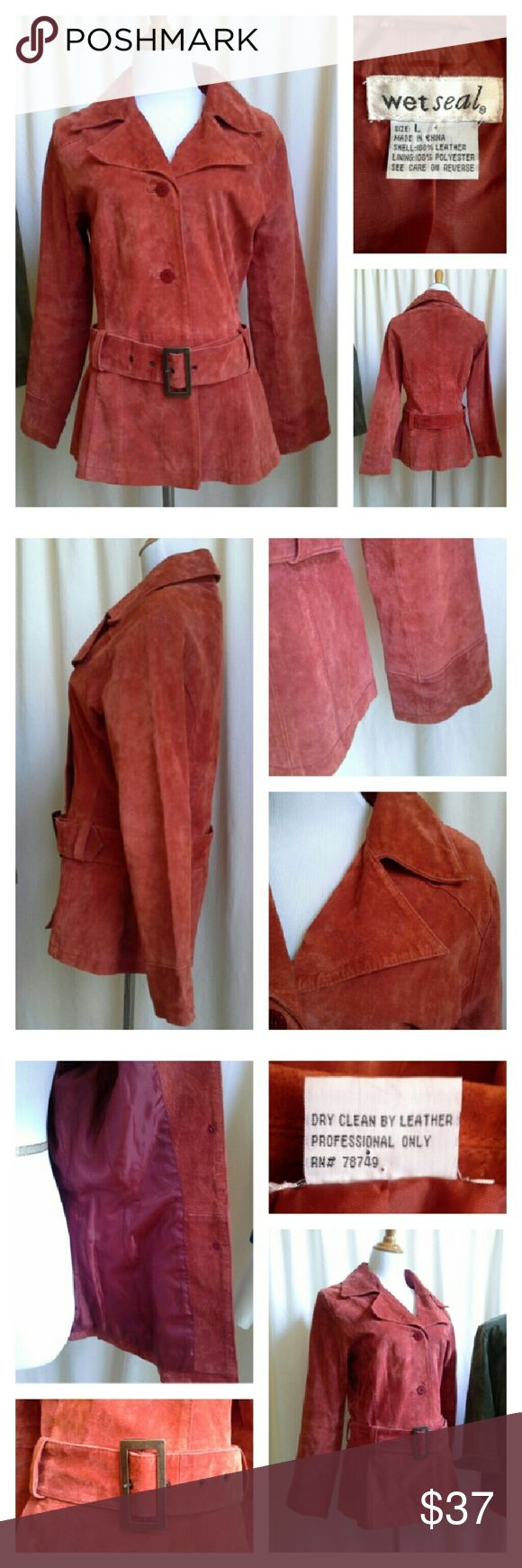 """WET SEAL Drop Waist Suede Jacket Get that 70s vibe with a giant pointy vintage style collar, and belted dropped waist. Fully lined. Trench coat style. Cinnamon rust color. Brass tone metal belt. No pockets. Approx measurements laid flat: U-U 19"""" across, Sleeve length 23-3/4"""", Waist 17"""" acr, Dropped waist at belt 18"""" across, Overall length 27"""". Wet Seal Jackets & Coats Trench Coats"""