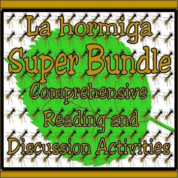 """Go For The Gold. This product includes four of the best """"La Hormiga"""" activities with all thematic lesson plans, study guides, writing and verbal discussion activities, children's lit unit activities, reading comprehension activities and powerpoint images."""