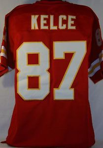 Travis Kelce Kansas City Chiefs Unsigned Custom Red Jersey Size XL