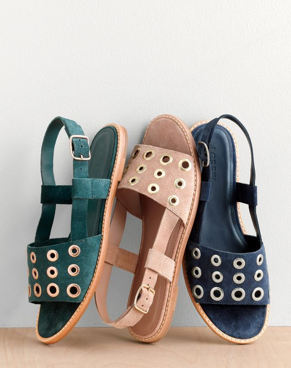 J.Crew women's suede slingback sandals with grommets.
