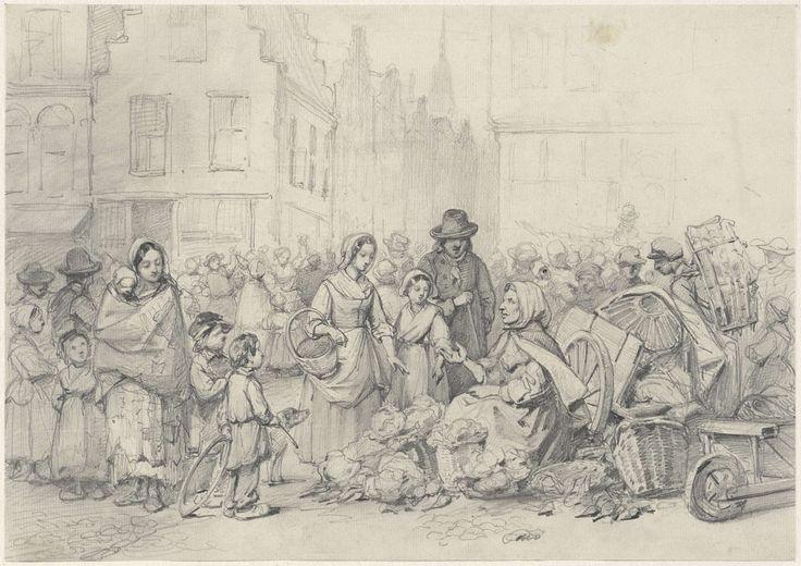 Willem Pieter Hoevenaar | Marktplein met groenteverkoopster, Willem Pieter Hoevenaar, 1818 - 1863 |
