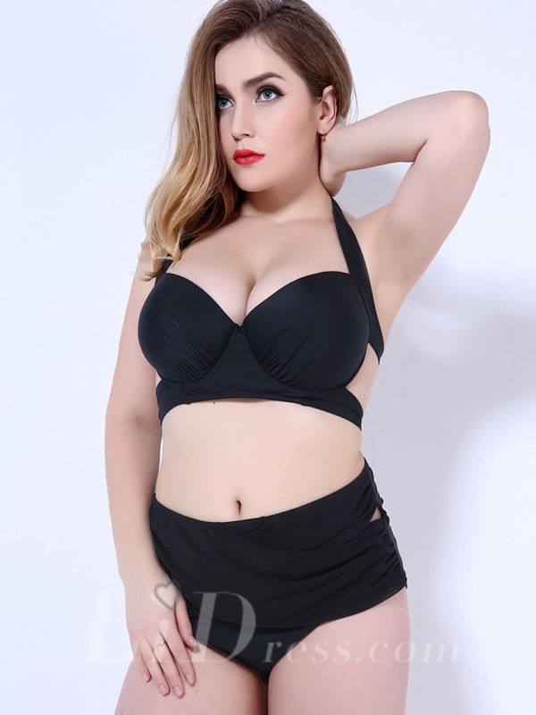 Black Solid Color High Waist Plus Size Womens Bikini Suit With Bandage Adornment Lidyy1605202058