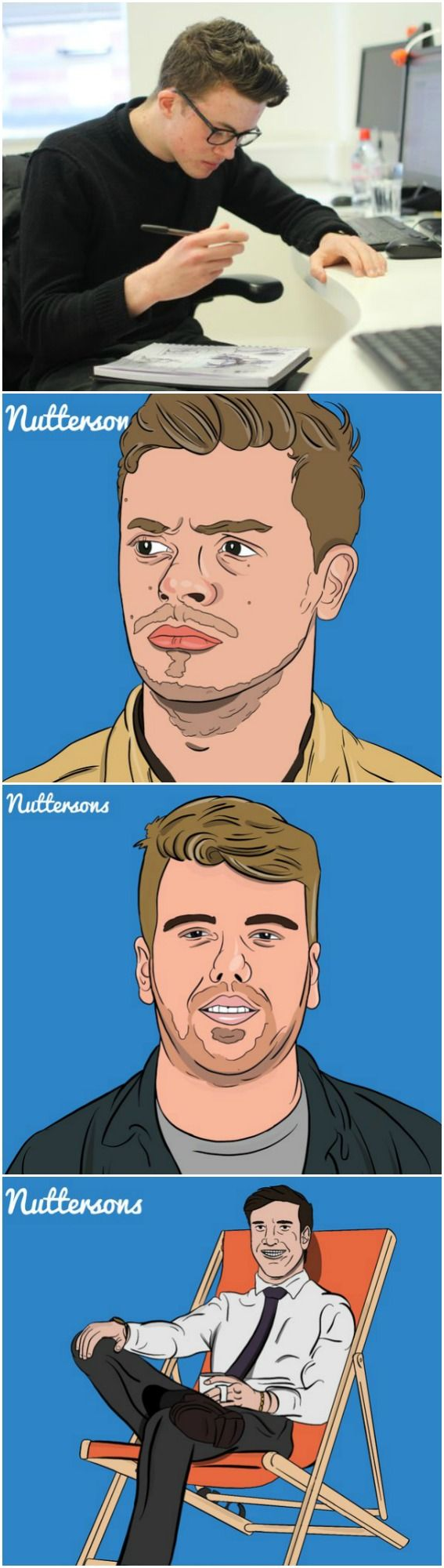 We are very happy that our new apprentice illustrator Ben has joined the team and is producing such an amazing work. Look at these illustrations of our colleagues! Cannot wait for more of his creations!