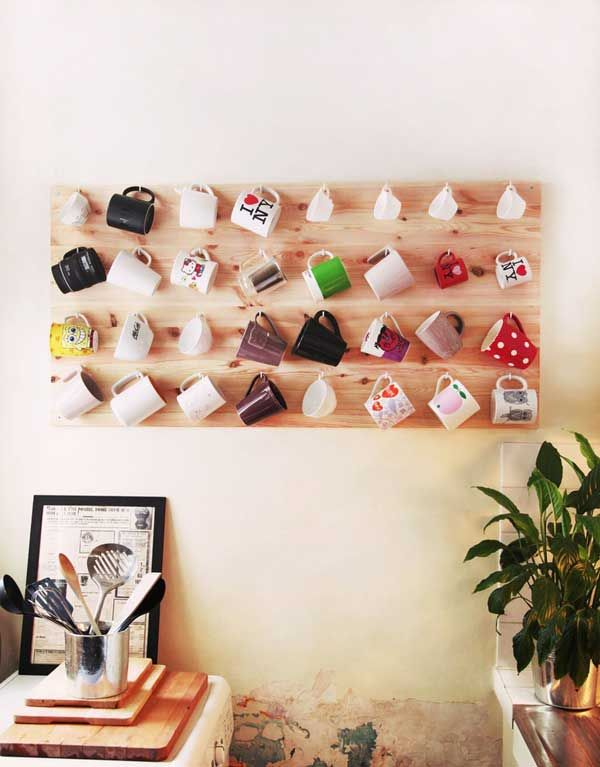 Make a mug mural:  30 Fun and Practical DIY Coffee Mugs Storage Ideas for Your Home