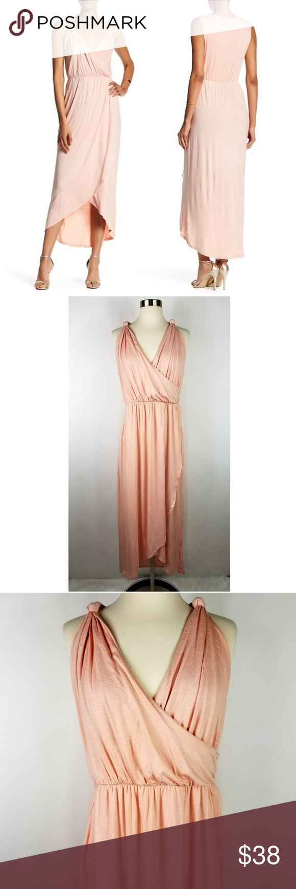 """The Vanity Room Surplice Knot Dress in Blush The Vanity Room surplice knot strap jersey knit dress. Size XL. Made of a stretchy rayon spandex blend. New with tags. (Sku:BN-B)  20"""" armpit to armpit  14"""" across at waist unstretched; 20"""" across when stretched 20"""" across at hip 50"""" long in front; 58"""" long in back Vanity Dresses Maxi"""