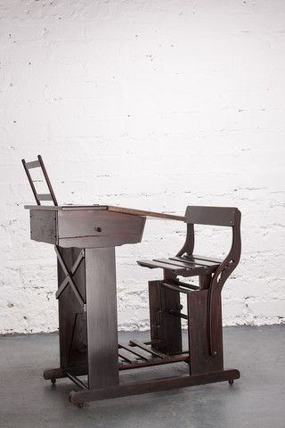 Timber school desk c.1950's. Amazing detail with adjustable seat and foot rest. In mint condition with original ink well and book stand.  Suit adult or child. If you like this check out our shop http://industrialthings.com/