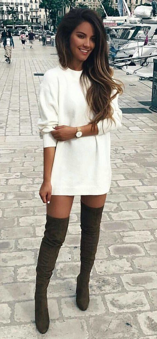 #fall #outfits women's white crew-neck long-sleeved mini dress