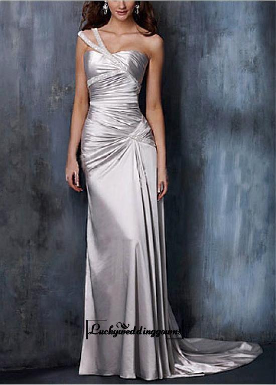 An Elegant Charmeuse One Shoulder Wedding Gown