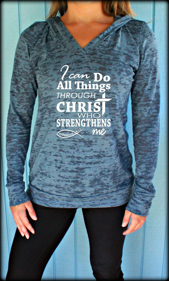 Christian Womens Workout V Neck T Shirt. Phillipians 4 13. Womens Flowy Running Tank Top. I Can Do All Things Through Christ Who Strengthens Me. Motivational Quote. Workout Tank Top. Exercise T Shirt. Workout Shirt. Crossfit Shirt. Christian Clothing. Motivational Tank. $21.99 by BraveAngelShopby BraveAngelShop