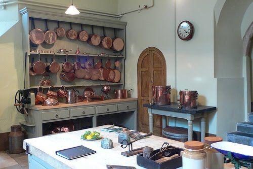 The Victorian kitchen at Powderham Castle