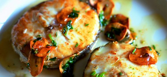 Hake with Crisp Sweet Garlic and Olive Oil