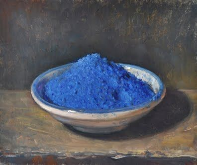 "1 October 2010 :: ""Cobalt Blue Pigment"" by Duane Keiser. Oil on linen mounted on board. 2010."