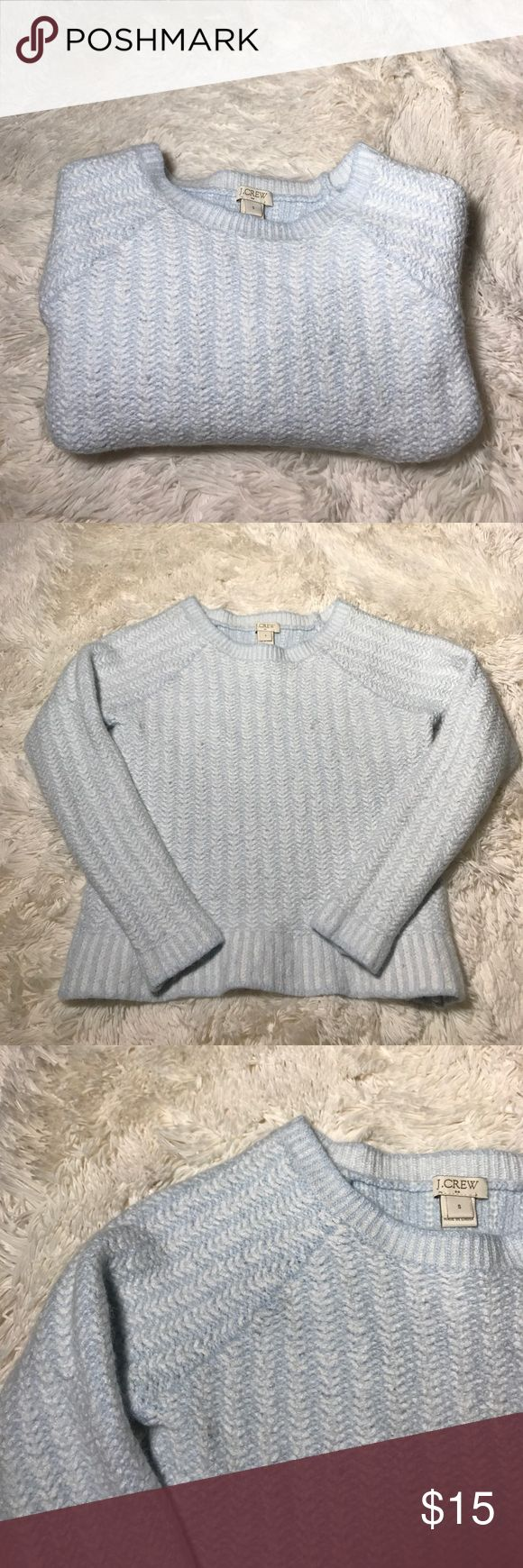 "•J. Crew• Wool Blend Girls Sweater Size Small. There is a hole underneath the arm, that may be able to be fixed? Please see photos. Pretty baby blue color. Assuming this is girls, but I suppose it could be boys?  Bust: 27"" Length: 17"" Sleeve Length: 20"" Shoulder to Shoulder: 8"" J. Crew Shirts & Tops Sweaters"