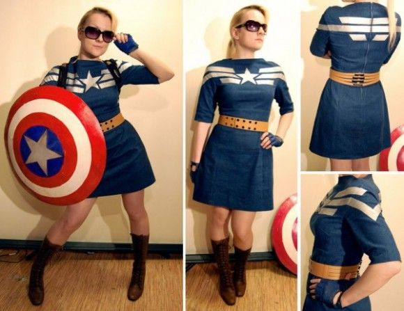 This Captain America dress is chic, patriotic, and perfectly printed. Best of all, it could easily be worn any day, not just as a Cap cosplay. Even better, maker AcidDaisy has a simple tutorial so you can paint one for yourself.