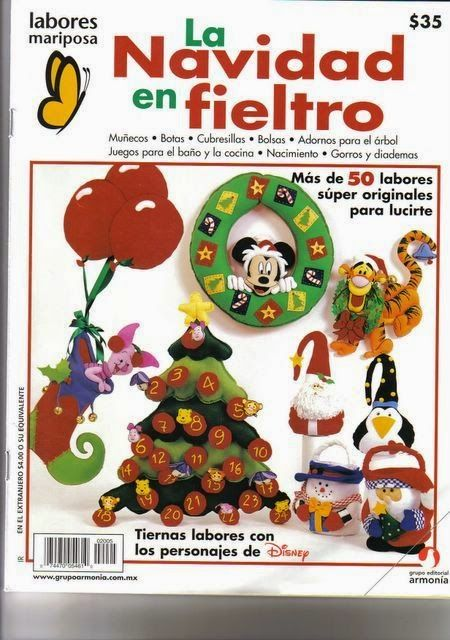 Free Pattern Disney Ornaments and Christmas Stocking  Revistas de Fieltro gratis: Revista navideña en fieltro