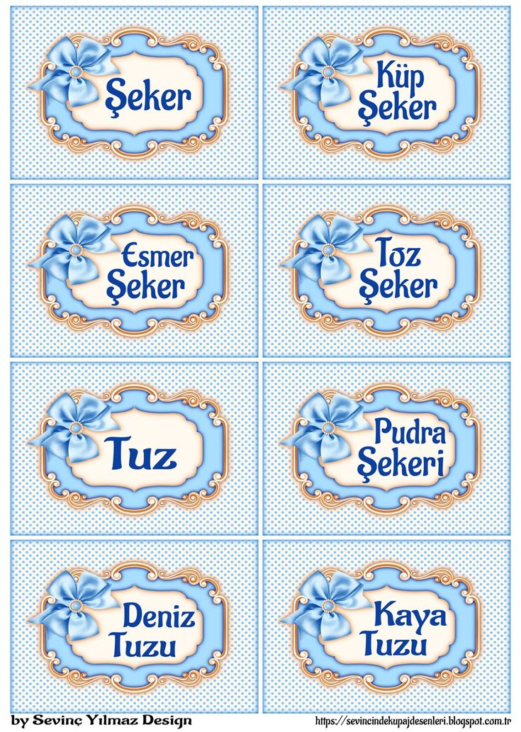 YAZILI ETİKETLER (Fiyonk&Puantiye ) ( A.Mavi ) | Dekupaj Desenleri