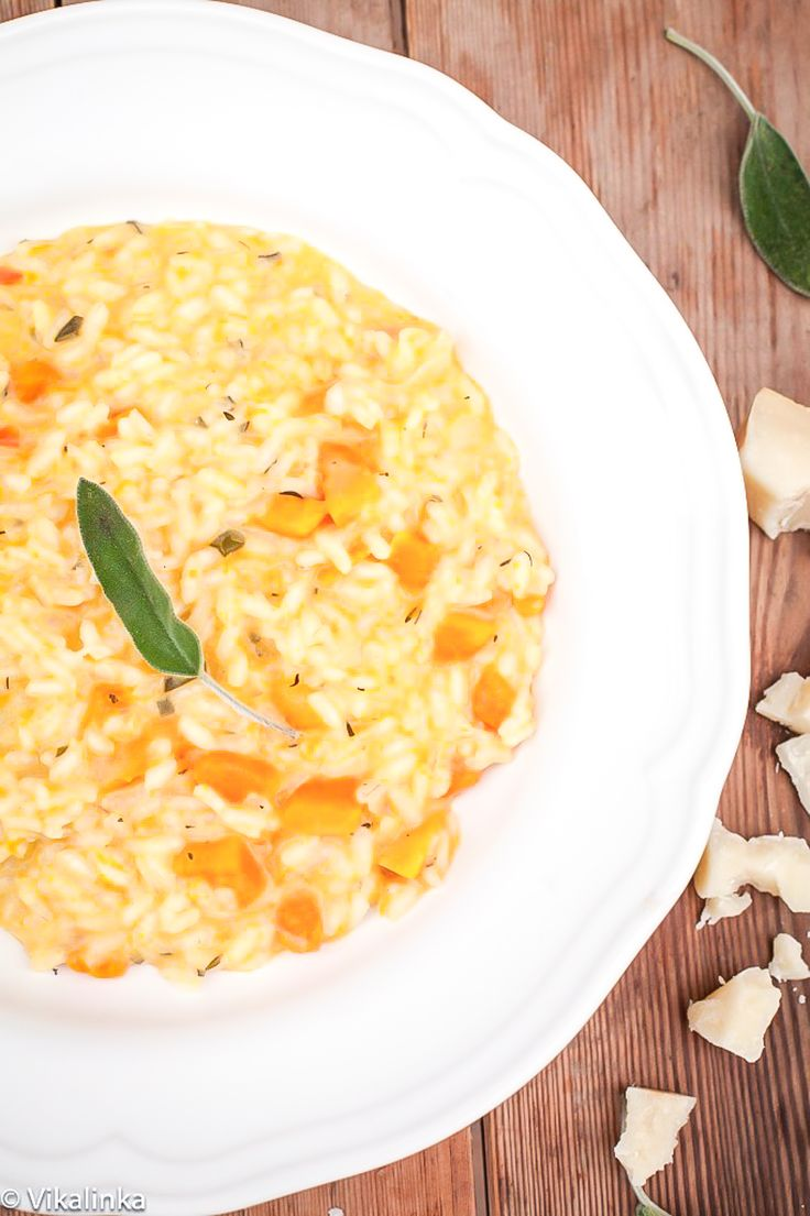 The creamiest butternut squash sage risotto with goat cheese.