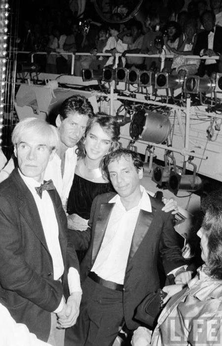 Andy Warhol, Calvin Klein, Brooke Shields & Steve Rubell at Studio 54, 1981