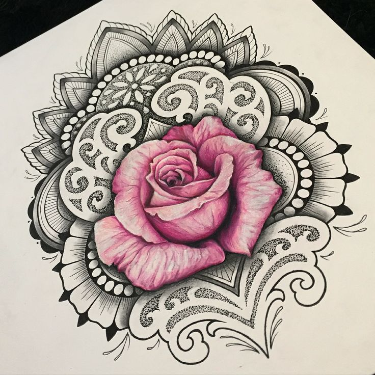 Tattoo flash design by Coppertop Arts (Whitney Thompson). Custom floral mandala design