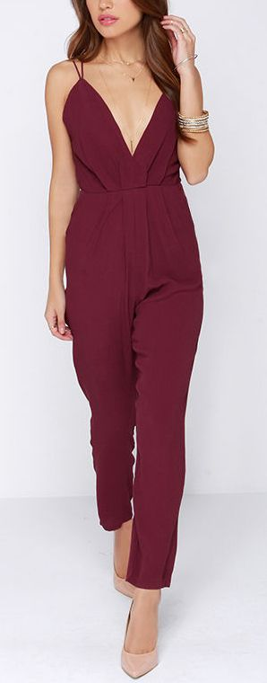 Burgundy Jumpsuit Womens Breeze Clothing