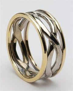 men's infinity wedding ring, yellow/white gold