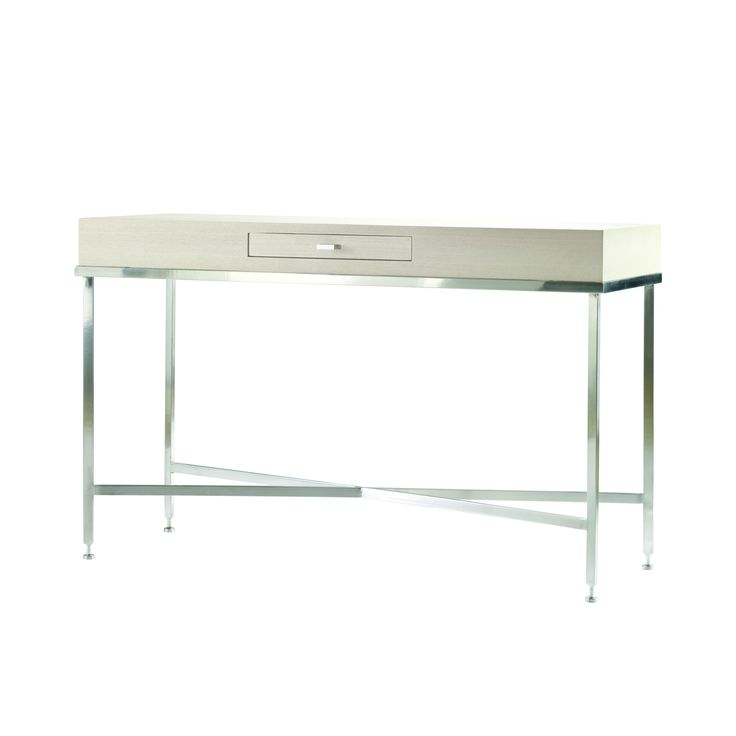 Galleria Chalk White on Ash Console with Brushed Stainless Steel Base.
