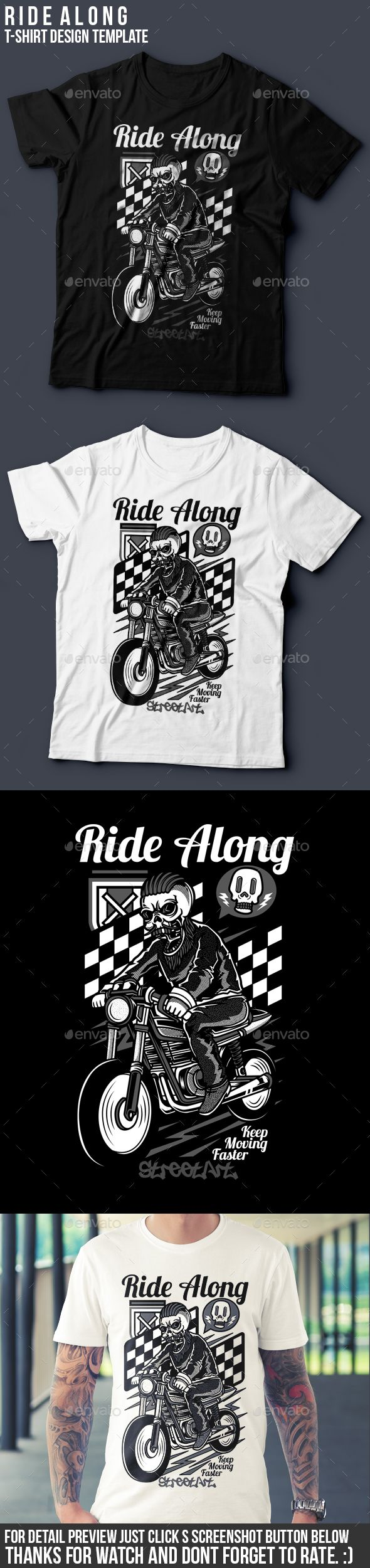 White t shirt eps - Ride Along T Shirt Design