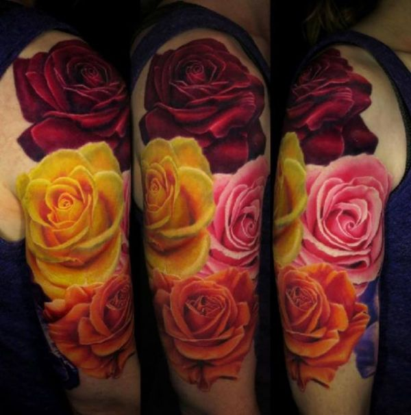 4 colored rose flowers 3D Tattoo  - http://tattootodesign.com/4-colored-rose-flowers-3d-tattoo/  |  #Tattoo, #Tattooed, #Tattoos