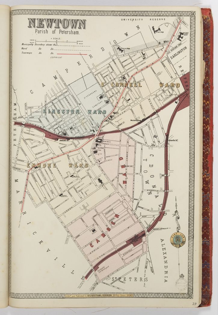Higinbotham & Robinson, map of Newtown, 1890s. From the album Sydney Suburban Borough Maps, State Library of New South Wales: http://library.sl.nsw.gov.au/record=b3574233