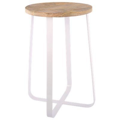 Krukje Ferro groot wit met hout #Casabella #Wonen #Kruk #Furniture