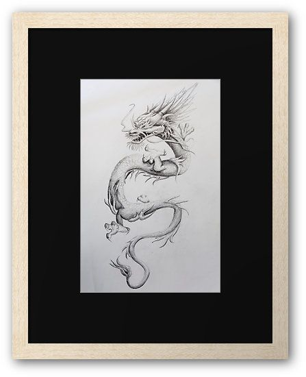 """""""Oriental Dragon"""" by I Love the Quirky - Framed Print. Available in a variety of frames and colours."""