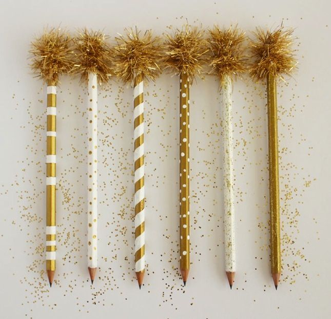 gold pom pom glam | 15 Ways to Personalize Your Pens and Pencils via Brit + Co